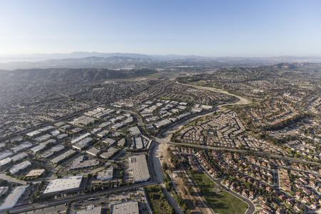 suburban neighborhood: Aerial view of industrial buildings and neighborhoods in Camarillo, California.