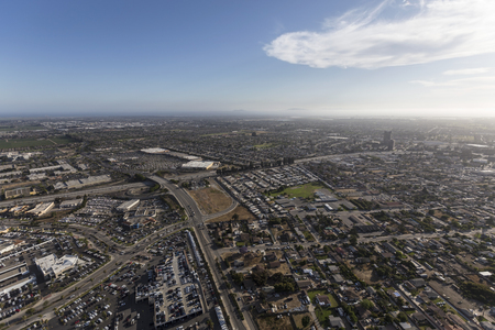 Aerial view of Oxnard and Ventura in Southern California. Stock Photo