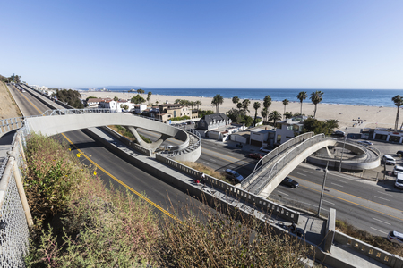 include: Santa Monica, California, USA - June 26, 2017:  Newly completed bicycle and pedestrian bridges over Pacific Coast Highway and the California Include.