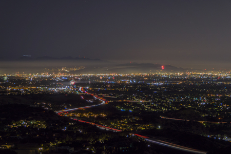 northridge: Night view the San Fernando Valley area of Los Angeles with multiple legal and illegal July 4th fireworks.
