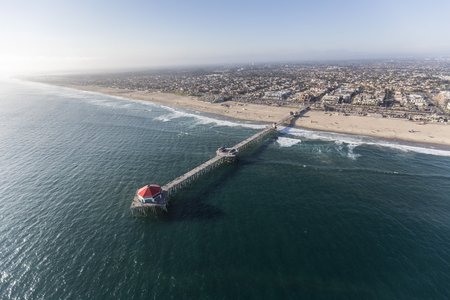 Aerial view of Huntington Beach Pier in Orange County, California.