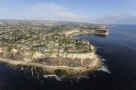 affluent: Aerial view of the Rancho Palos Verdes shoreline in Los Angeles County, California.