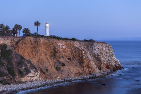 Night view of Point Vincente in Rancho Palos Verdes, California.