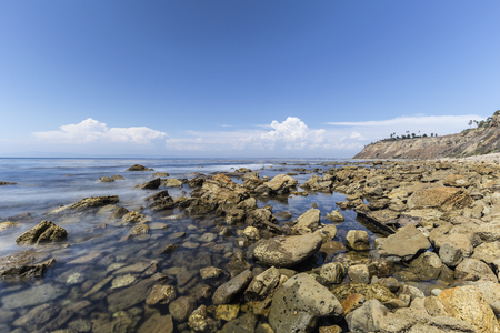 Tidal pools with motion blur water near Rancho Palos Verdes in Los Angeles County, California.