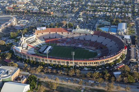 Los Angeles, California, USA - August 7, 2017:  Aerial view of the historic LA Coliseum stadium near downtown and USC. Editorial