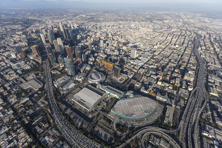 Los Angeles, California, USA - August 7, 2017:  Aerial view of Convention Center buildings, freeways and downtown towers. Editorial