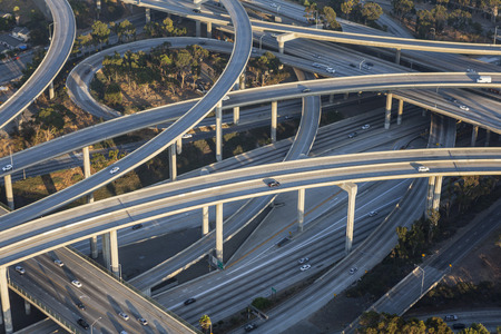 Aerial of Los Angeles 110 and 105 freeway interchange in Southern California.