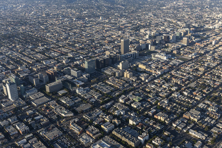 Aerial view of Wilshire Blvd and the Koreatown neighborhood in Los Angeles, California.