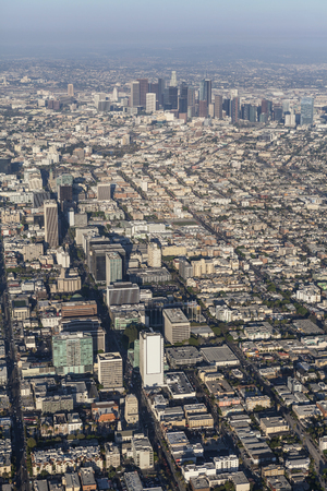 Afternoon aerial view of the Wilshire Blvd and downtown Los Angeles in Southern California.