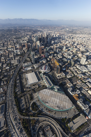 Los Angeles, California, USA - August 7, 2017:  Aerial view of Convention Center, Staples Center, Harbor 110 Freeway and office towers in downtown LA.
