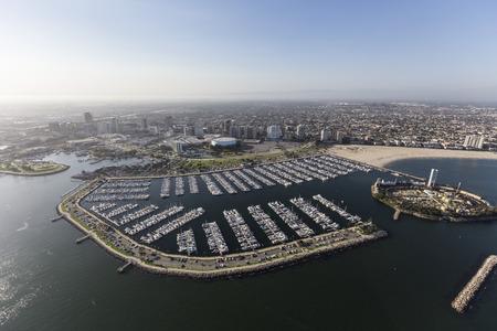 Aerial view of coastline and marina in Long Beach, California. Фото со стока