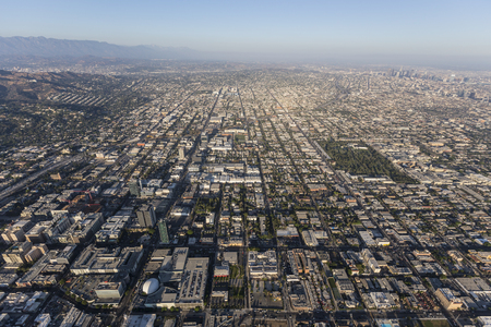 Aerial view of the Hollywood area of Los Angeles, California. Stock Photo