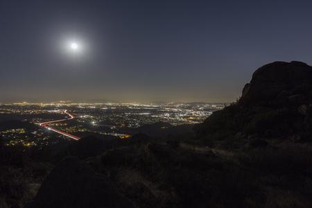 northridge: Full moon over the San Fernando Valley in Los Angeles, California.