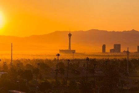 Las Vegas, Nevada, USA - October 10, 2017:  Hazy morning sunrise view towards Statosphere tower on the Las Vegas strip.