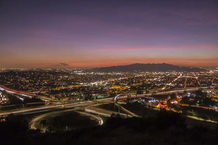 Sunset view of Ventura 134 freeway at the Glendale 2 freeway in Los Angeles, California. Stock Photo