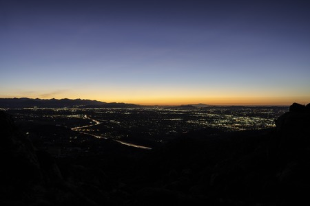 Before dawn view of the San Fernando Valley in Los Angeles California.  Shot from Rocky Peak Park near Simi Valley.   Stock Photo