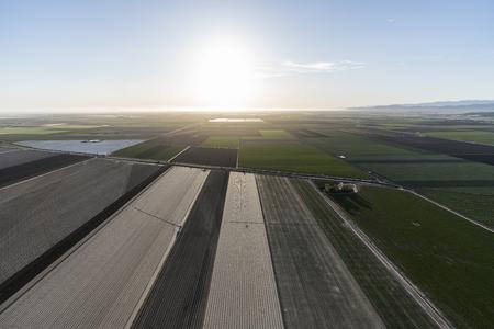Aerial view of coastal farm fields near Camarillo in Ventura County, California.  Stock Photo
