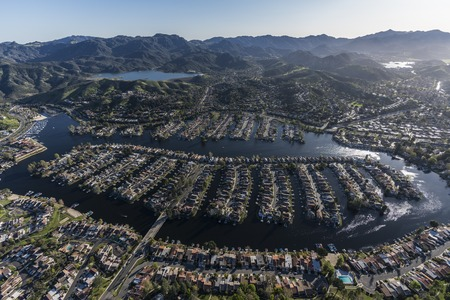 Aerial view of Westlake Island and lake in Thousand Oaks and Westlake Village communities in Southern California. Stock Photo