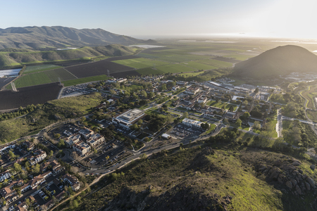 Aerial view of farm fields and California State University Channel Islands campus in Camarillo California.
