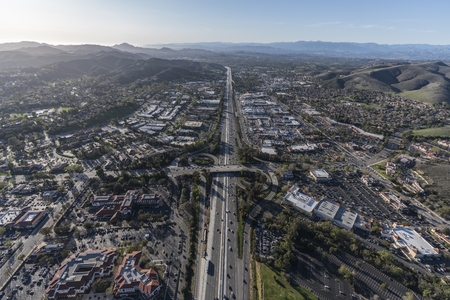 Aerial view of 101 freeway and Westlake Blvd in suburban Thousand Oaks near Los Angeles, California.