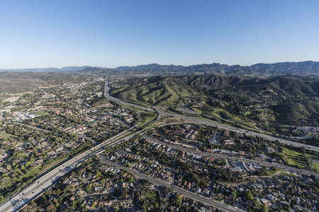 Aerial view of route 101 and 23 freeways and Westlake Blvd in suburban Thousand Oaks near Los Angeles, California. Stock Photo