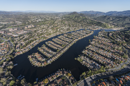 Aerial view of Westlake Island in the Thousand Oaks and Westlake Village communities in Southern California. Stock Photo