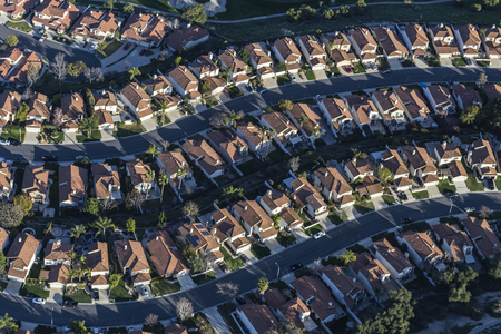 Aerial view of suburban residential area in Thousand Oaks California.
