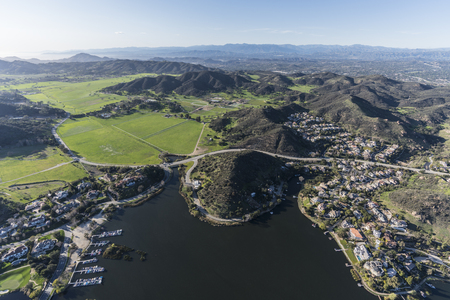 Aerial view of Lake Sherwood, Hidden Valley and the Santa Monica Mountains near Malibu, Westlake Village and Thousand Oaks California.