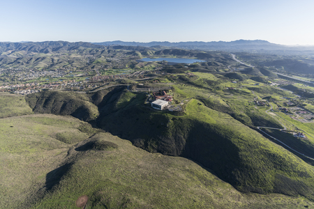 Aerial view of Simi Valley ranch lands and the Ronald Reagan Presidential Library in Ventura County California. Stock Photo