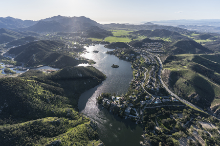 Aerial view of Lake Sherwood, Hidden Valley and the Santa Monica Mountains in Ventura County, California.