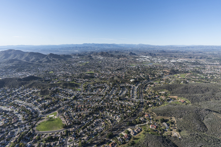 Aerial view of large suburban Newbury Park and Thousand Oaks in Ventura County, California.   Stock Photo