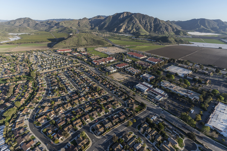 Aerial view of Camarillo homes, business and farms in Ventura County, California.