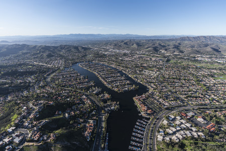 Aerial view of Westlake island, marina and lake in the Thousand Oaks and Westlake Village communities of Southern California. Stock Photo