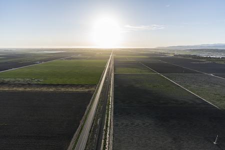 Aerial view of coastal farm fields near Oxnard and Camarillo in Ventura County, California.