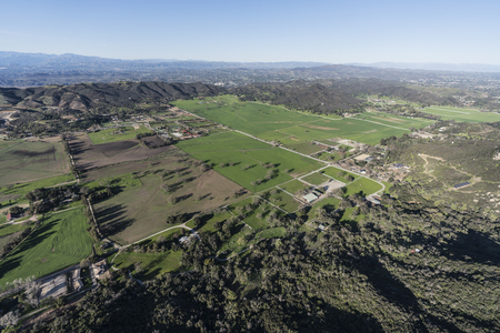 Aerial view of pastures in Hidden Valley and the Santa Monica Mountains near Westlake Village, Malibu and Thousand Oaks California.