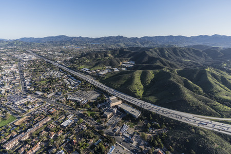 Aerial view of 101 freeway in suburban Thousand Oaks near Los Angeles, California. Stock Photo