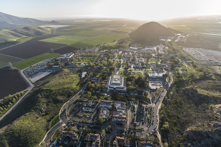 Afternoon aerial view of coastal farm fields and California State University Channel Islands campus in Camarillo California. Stock Photo