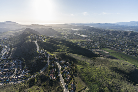 Aerial view of Santa Rosa Valley and Wildwood neighborhood in Camarillo and Thousand Oaks California.