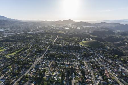 Aerial view of Lynn Ranch and Newbury Park neighborhoods in suburban Thousand Oaks, California.