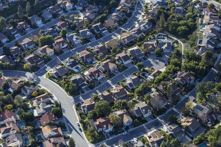 Aerial view of suburban cul de sac homes in Thousand Oaks California.
