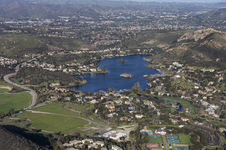 Aerial view of Lake Sherwood in Hidden Valley near Westlake Village, Malibu and Thousand Oaks in Ventura County California.