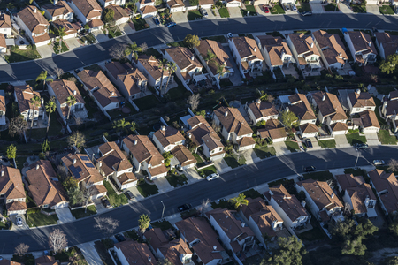 Aerial view of typical neighborhood homes and streets in suburban Thousand Oaks, California.   Stock Photo