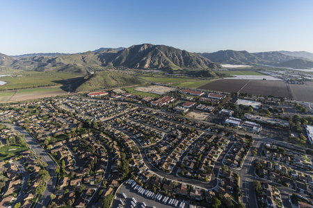 Aerial view of Ventura County homes, business and farms in Camarillo, California.   Stock Photo