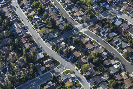 Aerial view of suburban residential area near Los Angeles in Ventura County, California.