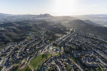 Aerial view of Lynn Ranch neighborhood and Wildwood Regional Park in suburban Thousand Oaks, California.   Stock Photo