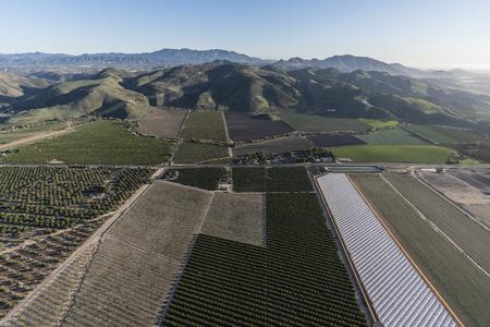 Aerial view of coastal farm fields in Santa Rosa Valley near Camarillo California.