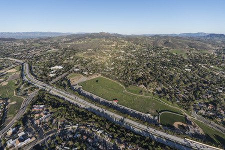 Aerial view of homes, parks and Route 23 Freeway near Los Angeles in suburban Thousand Oaks, California.