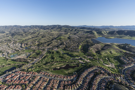 Aerial view of Wood Ranch neighborhood near Los Angeles in suburban Simi Valley, California. Stock Photo