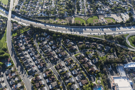 Aerial view of Route 23 Freeway and residential neighborhood near Los Angeles in suburban Thousand Oaks, California.