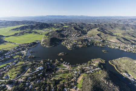 Aerial view of Lake Sherwood and Hidden Valley near Westlake Village, Malibu and Thousand Oaks California.